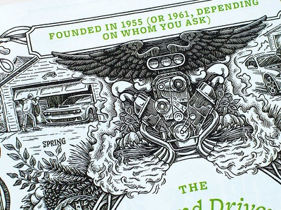 Car and Driver hand drawn handmade editorial decorative embellishment ornate ornament floral wings engine motor car automotive engraving pen and ink illustration