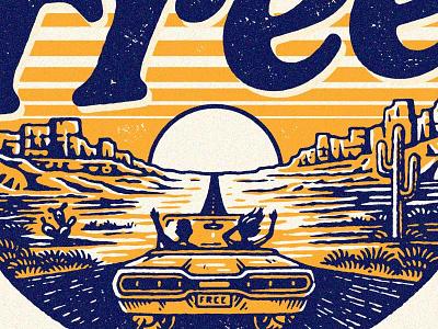 Free pen and ink west southwest drive landscape car lettering illustration