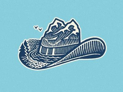 Cowboyland illustration art river hat mountains landscape etching engraving wood engraving illustration