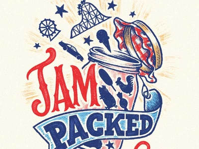 Jam Packed fun summer prize jar carnival fair branding design logo hand lettering lettering illustration