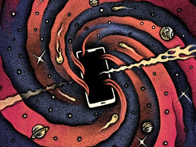 Black Hole Phone drawing color texture pen and ink digital tech phone black hole galaxy space conceptual editorial illustration