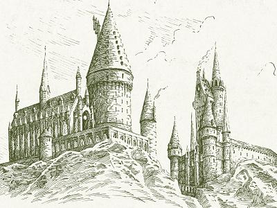 Hogwarts fan art fantasy harry potter line work line art line building castle architecture landscape traditional hatching illustration