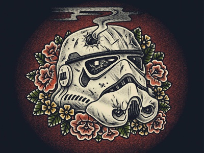 Storm Trooper Final flowers rose roses digital stippling flash tattoo traditional storm trooper star wars pen and ink illustration