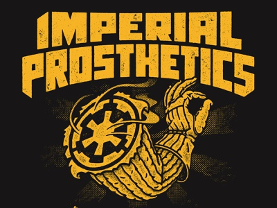 Imperial Prosthetics Final  Revised graphic star wars design t-shirt tee pen and ink lettering typography illustration