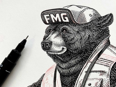 Bear hand drawn handmade character bear black and white line line work pen and ink