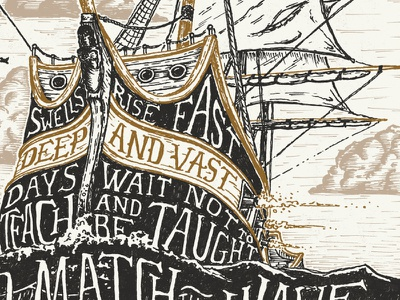 New Stuff illustration pen and ink typography ship vessel pirate waves ocean