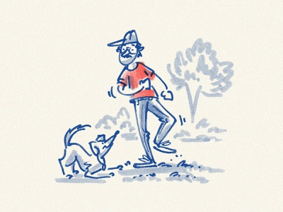 Moseyin' Into The Week dog boy man freehand sketch gesture editorial illustration editorial pen and ink illustration