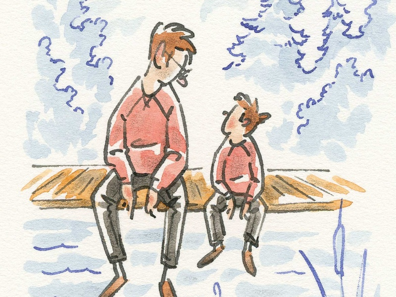 Kids nature outdoors man boy son father person people editorial gesture watercolor pen and ink