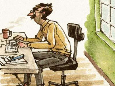Workspace work chair desk office man editorial watercolor pen and ink