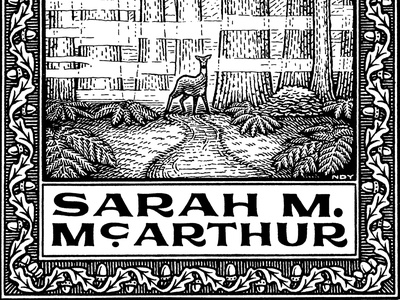 Sarah Ex Libris leaves boarder pattern hand lettering lettering wildlife deer landscape nature black and white bookplate engraving pen and ink