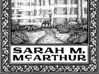 Sarah Ex Libris leaves boarder pattern hand lettering lettering wildlife deer landscape nature black and white bookplate engraving pen and ink