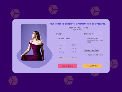 Daily UI Challenge Day #017 Boxy Email receipt dress shopping website shopping receipt email email receipt 017 daily ui challenge design dailyui