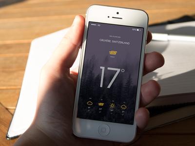 Weather App weather ui thunder sunny sun iphone ios fog cloud app