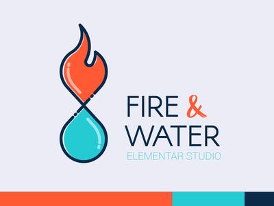 Fire & Water - Logo / Brand Design studio fire water blue orange vector design logo flat brand