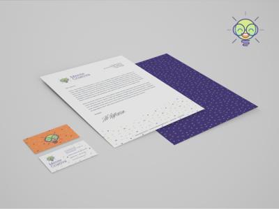 Stationary lightbulb stationery logo identity corporate cards business branding brand