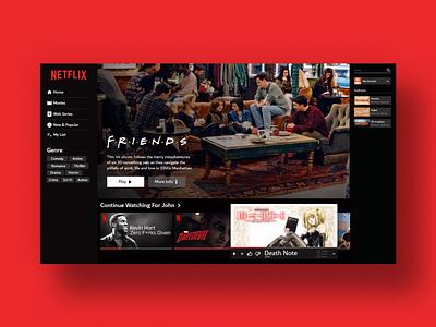 Netflix UI Concept web mockup wordpressdeveloper uxdesign uidesign ux ui minimal conceptdesign adobexd