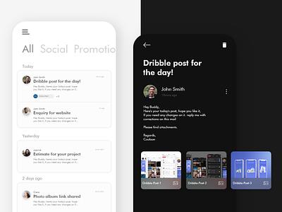 Mail app UI design app ui minimal ux uxdesign uidesign mockup conceptdesign adobexd