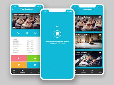 JIFFI - Food + Drink Social Sharing App app blue vector flat design sketch mobile ux design ui design iphonex