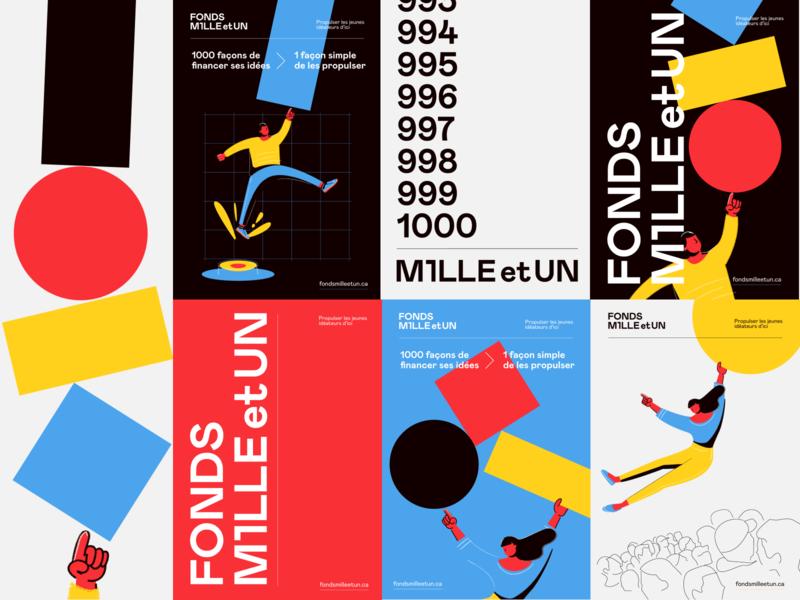 Fonds Mille et UN big type illustration design geometry hands mondrianism branding concept illustration logo branding and identity