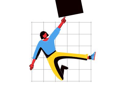 Fonds Mille et UN hands jumping jump minimal vector illustration design primary colors mondrianism geometry branding illustration