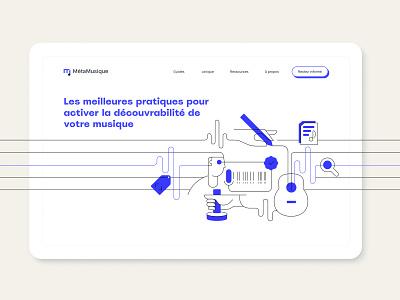Meta Musique - Homepage process data meta music homepage ui vector ux illustration design web