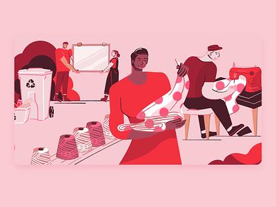 Mois de l'économie sociale circular ecology economy inclusivity campaign design campaign web illustration