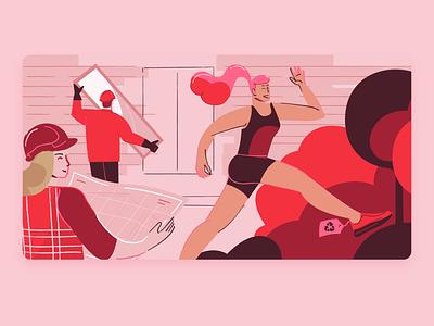 Mois de l'économie sociale woman illustration character green runner people run illustration