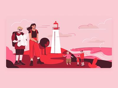 Mois de l'économie sociale inclusivity economy social island lighthouse summer turism sea travel illustration