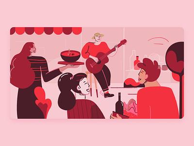 Mois de l'économy sociale guitar music character happy restaurant social illustration digital vector illustration design outside local people illustration