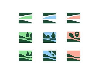 Brand and sub-brand exploration 2 landscape natural nature forest design minimal vector branding logo icon flag city