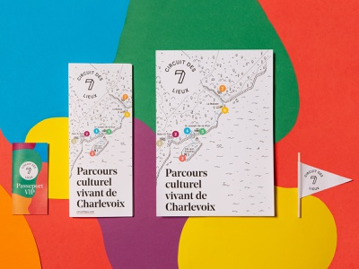 Circuit des 7 lieux - collaterals map tourism travel logo branding paper collaterals flyer