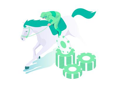 Gambliance online chips money green isometric startup joker horse race rase casino gambling