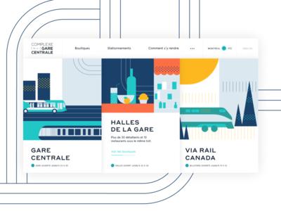 Homepage - Gare Centrale de Montréal header design transportation city illustration header illustration header