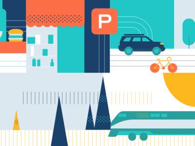 Gare Centrale   Dribbble 4 pine bicycle bike metro train parking car transportation illustration