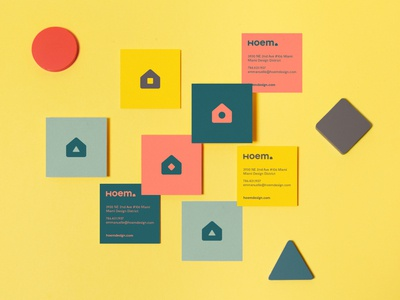 Hoem Cartes colorful design geometric square card business cards home logo businesscard cards branding