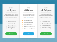 MaxCentive Pricing Cards