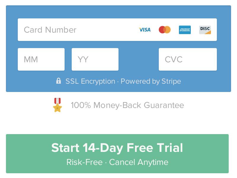 HookFeed - Sign Up Form visa mastercard amex discover guarantee sign up button credit card form badge