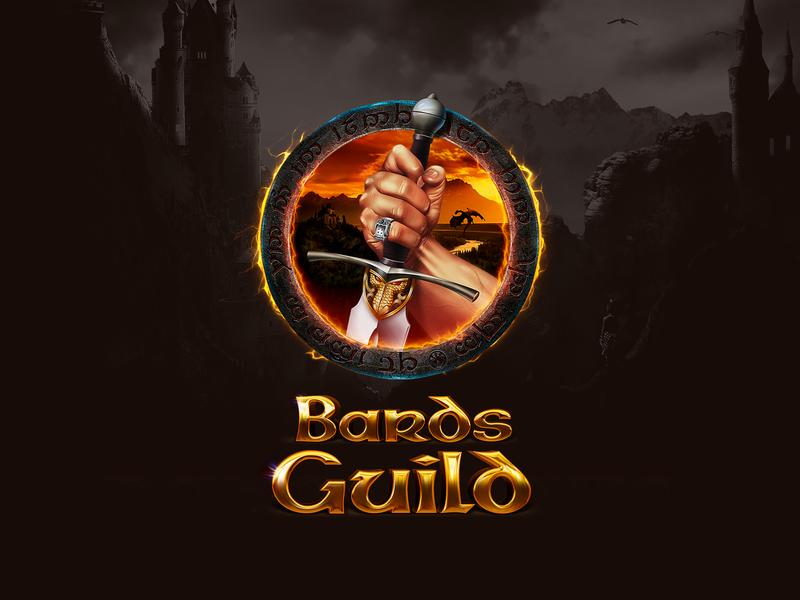 Logotype for Bards Guild sword dragons epic game games brand blind guardian tolkien fantasy logo branding
