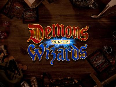 Demons Vs. Wizards card game logotype