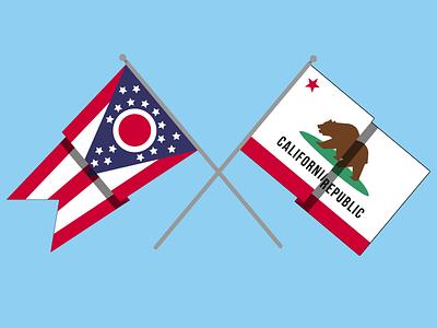 Ohio x California Flags ohio california state flags freebies