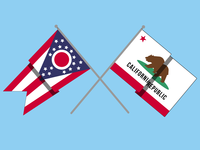 Ohio x California Flags
