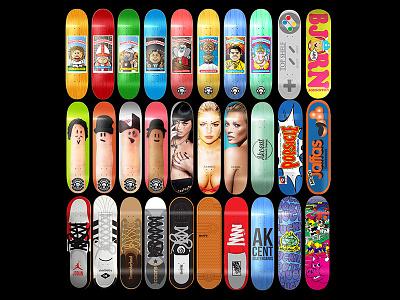 Skateboard Design Collage - 2015 skateboard design art direction skateboard art graphic design concept muckmouth eshe