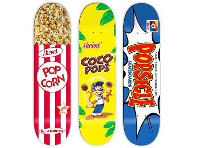 'Get More Pop' Series for Akcent Skateboards skateboarding graphic design art direction typography