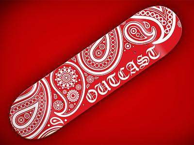 Bloods graphic for Outcast Skateboards bloods art direction graphic design skateboard design