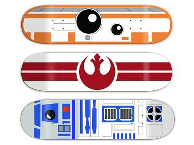 Muckmouth x Star Wars Boards graphic design r2d2 bb8 star wars art direction skateboard graphics skateboard design