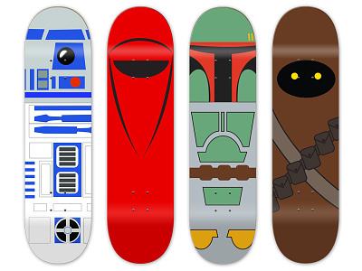 Star Wars boards graphic design r2d2 bb8 star wars art direction skateboard graphics skateboard design