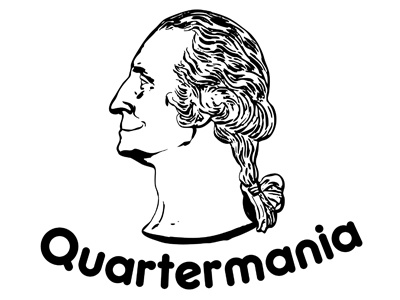 Quartermania Logo logo quartermania quarter george george washington jessica buchanan jessica buchanan wichita black white smile smiling george washington ponytail pony head