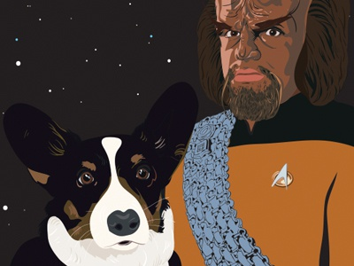 Fredrick, Son of Ben with Worf, Son of Mogh fred fredrick ben worf mogh son star trek sci-fi gift enterprise corgi dog space portrait vector jessica buchanan jessica buchanan wichita
