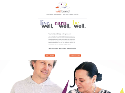 The WellBrand homepage graphic design brand identity brand concept brand colors brand design brand creation wellbranding branding web designer web design website