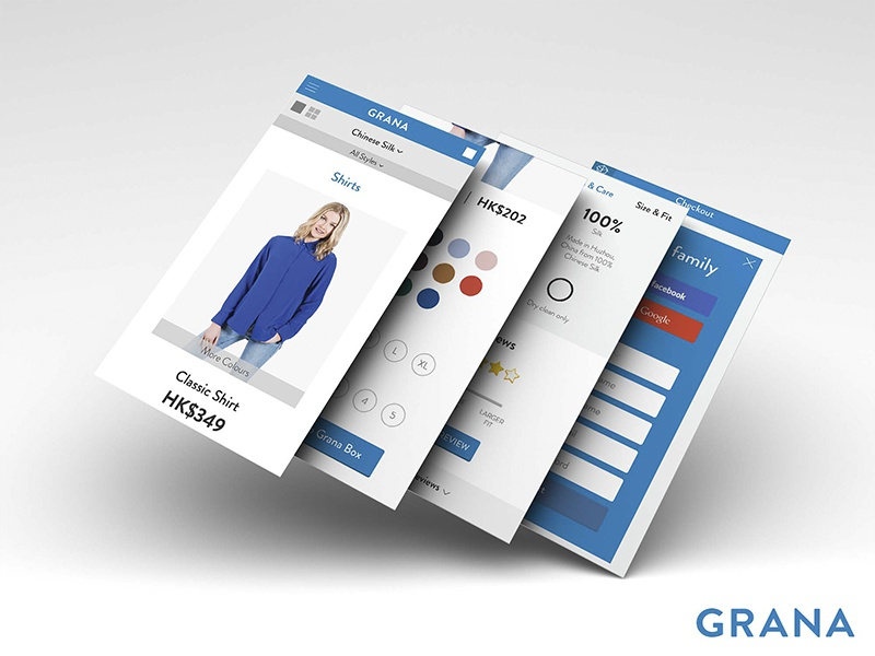 Grana ecommerce mobile app interface design ui ux